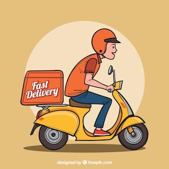 Uomo di consegna disegnato a mano su scooter