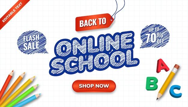 Design disegnato a mano per tornare al concetto di scuola con effetto di testo modificabile. banner scuola online con matita 3d e illustrazione di matite colorate.