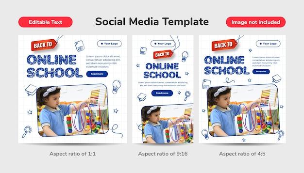 Design disegnato a mano per tornare al concetto di scuola con effetto di testo modificabile. scuola online modello di social media con matita 3d, alfabeto e smartphone.
