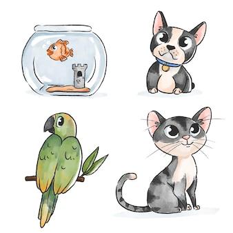 Animali domestici svegli di disegno disegnato a mano