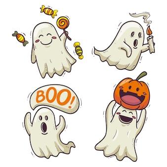 Collezione di fantasmi di halloween di design disegnato a mano