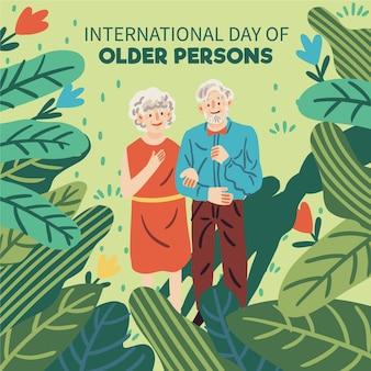 Giorno delle persone anziane di disegno disegnato a mano