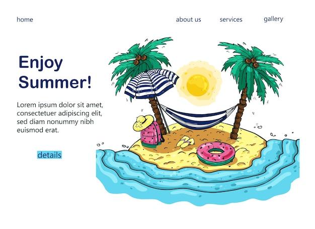 Design disegnato a mano di un banner turistico con palme, mare, amaca, zaino, ombrellone, per un popolare blog turistico, pagina di destinazione o sito web turistico.