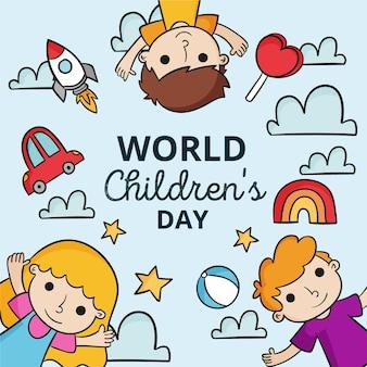 Giornata mondiale dei bambini di design disegnato a mano
