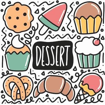 Doodle di dessert disegnati a mano con icone ed elementi di design