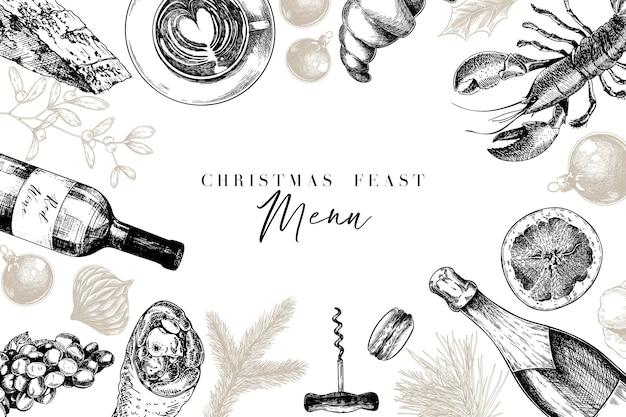 Disegnate a mano dettagliate decorazioni natalizie, cibo e bevande.
