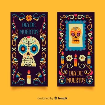 Banner di día de muertos disegnati a mano Vettore Premium