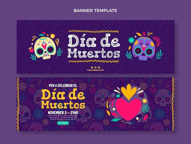 Set di banner orizzontali dia de muertos disegnati a mano