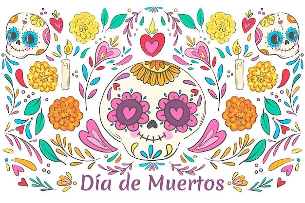 Illustrazione di dia de muertos disegnata a mano