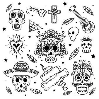 Collezione di etichette dia de muertos disegnate a mano