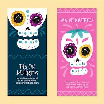 Bandiere verticali di dia de muertos disegnate a mano