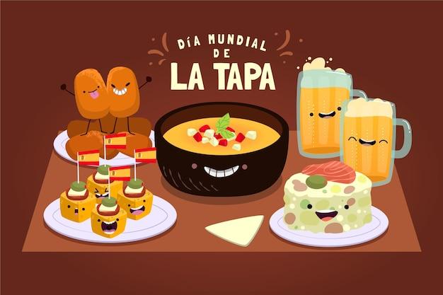 Illustrazione disegnata a mano dia mundial de la tapa