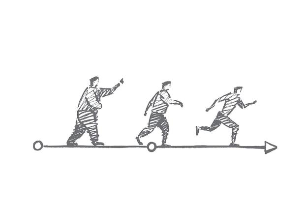 Schizzo di concetto di sport dieta disegnata a mano