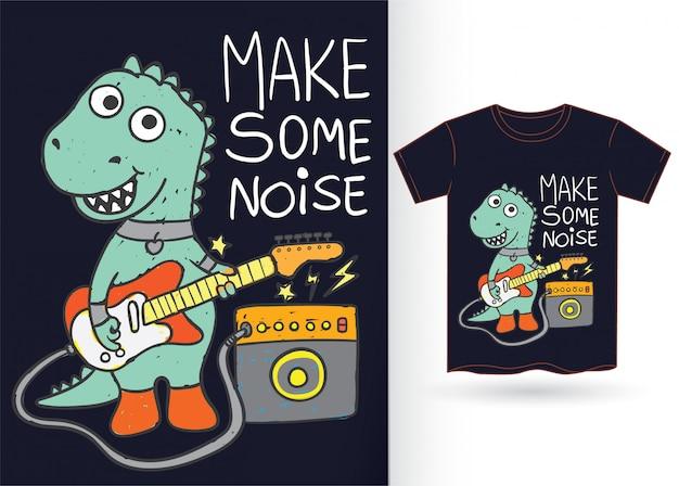 Chitarrista dino disegnato a mano per maglietta