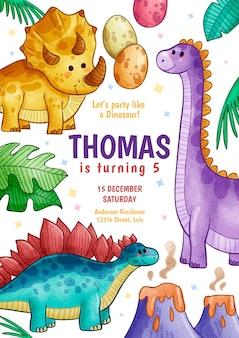 Modello di invito compleanno dinosauro disegnato a mano