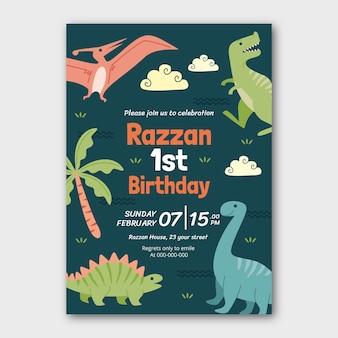 Invito di compleanno di dinosauro disegnato a mano