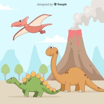 Collezione di dinosauri disegnati a mano