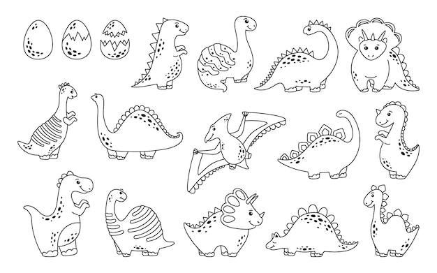 Set di dinosauri disegnati a mano