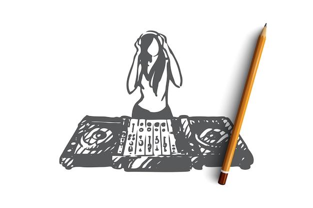 Dj disegnato a mano nello schizzo del concetto di discoteca