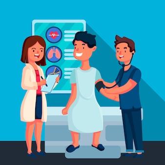 Medico disegnato a mano che esamina un paziente illustrato