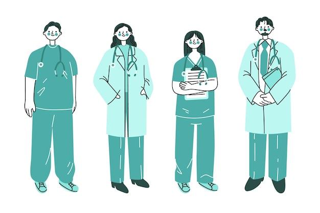 Illustrazione disegnata a mano di medici e infermieri