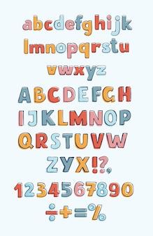 Abc di doodle disegnato a mano ha tagliato l'illustrazione di vettore del carattere