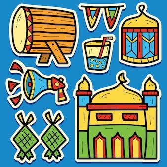 Disegno dell'autoadesivo del ramadan del fumetto di scarabocchio disegnato a mano