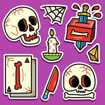 Disegno dell'autoadesivo del cranio del fumetto di doodle disegnato a mano