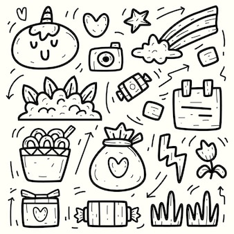 Disegno di unicorno del fumetto di doodle disegnato a mano