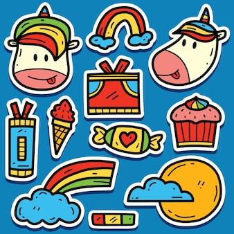 Disegno dell'autoadesivo dell'unicorno del fumetto di doodle disegnato a mano
