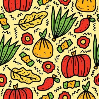 Reticolo vegetale sveglio del fumetto di doodle disegnato a mano