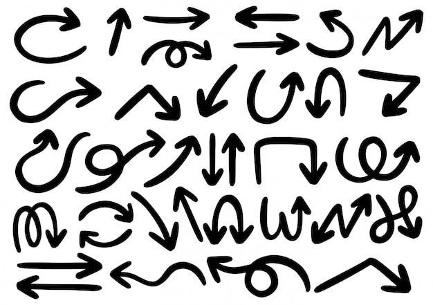 Elementi di design doodle disegnato a mano frecce disegnate a mano, cornici, bordi, icone e simboli.