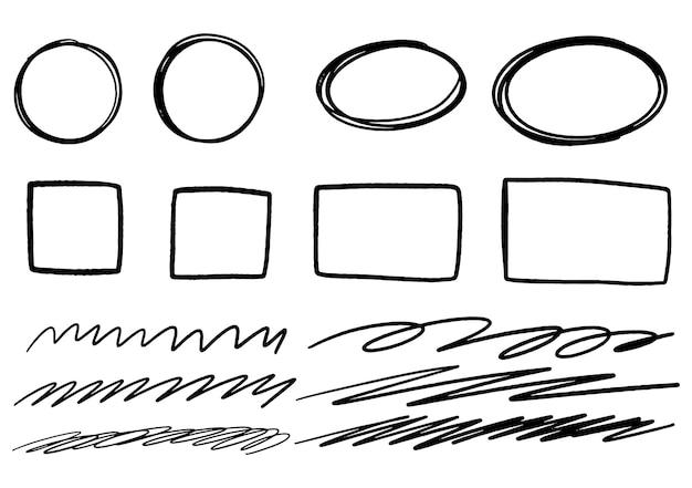 Elementi grafici di disegno di doodle disegnato a mano. cerchi di frecce disegnate a mano e disegno astratto di scrittura di doodle. sfondo bianco.