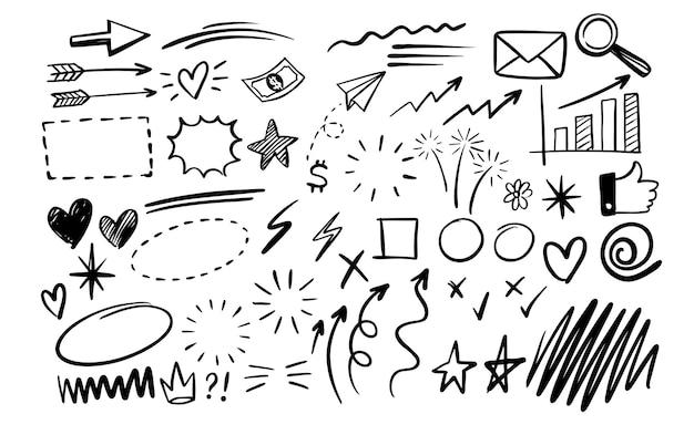 Elementi grafici di disegno di doodle disegnato a mano.