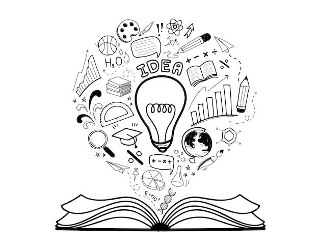 Insieme di idea di educazione doodle disegnato a mano