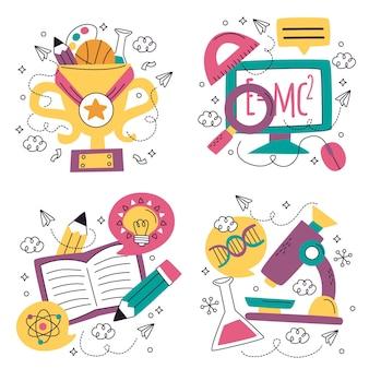 Collezione di adesivi di educazione doodle disegnato a mano