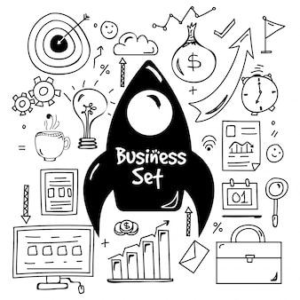 Elementi disegnati a mano doodle impostato per business.