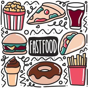 Illustrazione disegnata a mano dell'elemento di disegno di arte degli alimenti a rapida preparazione di doodle.