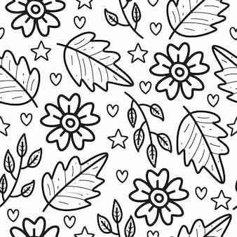Disegno disegnato a mano dell'illustrazione del modello del fiore e della foglia di scarabocchio