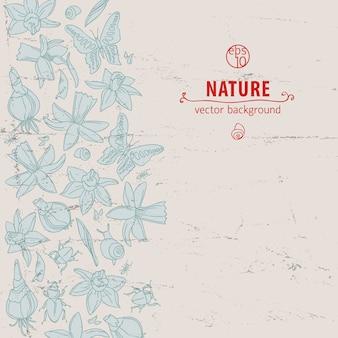 Fiori e farfalle disegnati a mano di scarabocchio isolati e leggeri su bianco