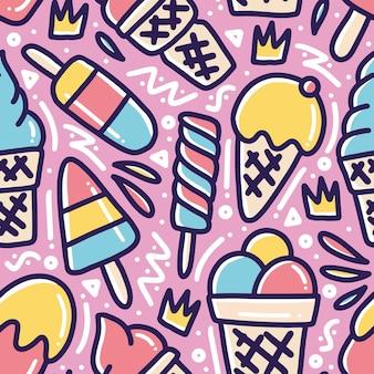 Menu fresco doodle disegnato a mano nella giornata di sole con icone ed elementi di design