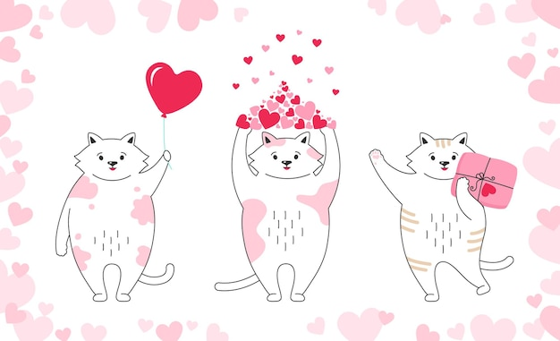 Carattere di gattino divertente doodle disegnato a mano con cuori, palloncino, regalo e pacco