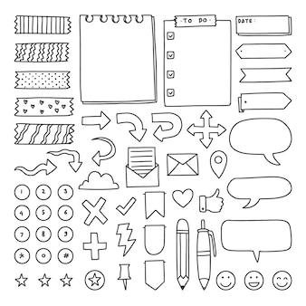 Collezione di pianificatori di diario doodle disegnato a mano