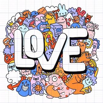 Disegnato a mano di doodle kawaii, mostri di doodle, concetto di amore, illustrazione per libro da colorare, ciascuno su un livello separato.