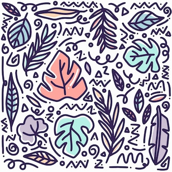 Foglia di doodle disegnato a mano impostato con icone ed elementi di design