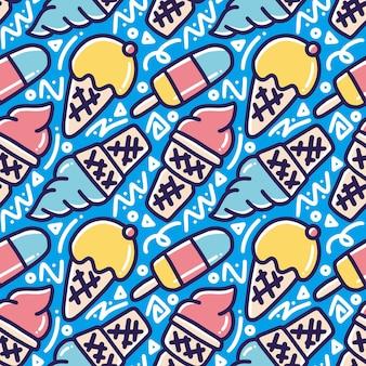 Reticolo di doodle disegnato a mano del menu fresco nella giornata di sole con icone ed elementi di design