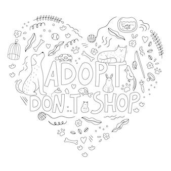 Cuore di animali domestici e oggetti doodle disegnato a mano