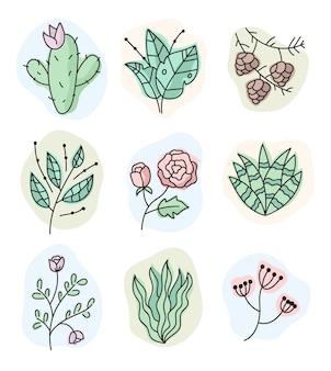 Insieme di elementi di design isolato vettore fiore stampa doodle disegnato a mano