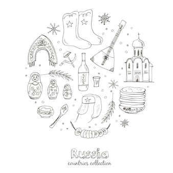 Insieme di viaggio russia doodle disegnato a mano. set di icone imprecise.