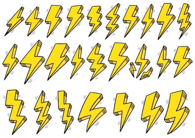 Insieme di doodle disegnato a mano di fulmini, tuono
